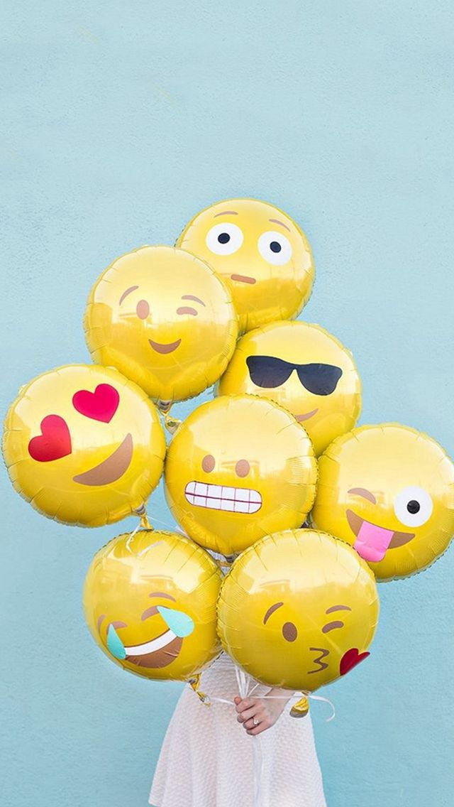 Abstract Funny Cute Emoji Balloons  #iPhone #5s #wallpaper