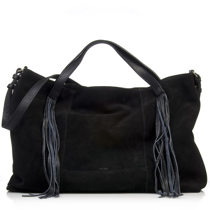 Nak shoes black suede bag with fringes