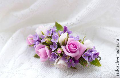 "Заколка ""розы и сирень"" - заколка с цветами,цветы в прическу,заколка автомат"