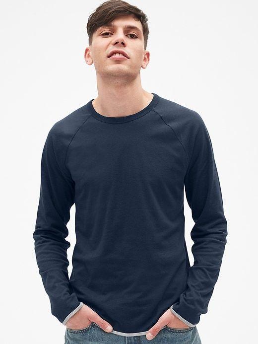 cf0b872a259 Gap Mens Long Sleeve Double-Face Crewneck T-Shirt Tapestry Navy