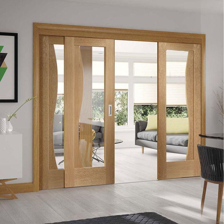 Easi-Slide OP2 Oak Emelia Sliding Door System with Clear Glass in Three Size Widths. #internalglassdoors #slidingdoors #glazedslidingdoors