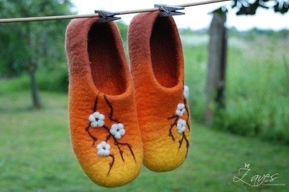 Cherry blossom hand felted orange slippers