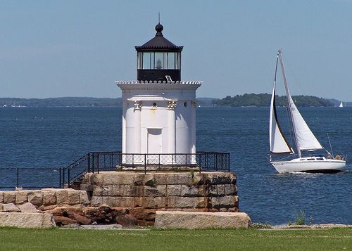 Bug Light - Near Portland, ME    The QE 2 sometimes docks in the bay because it's too large a ship to go into the harbor.