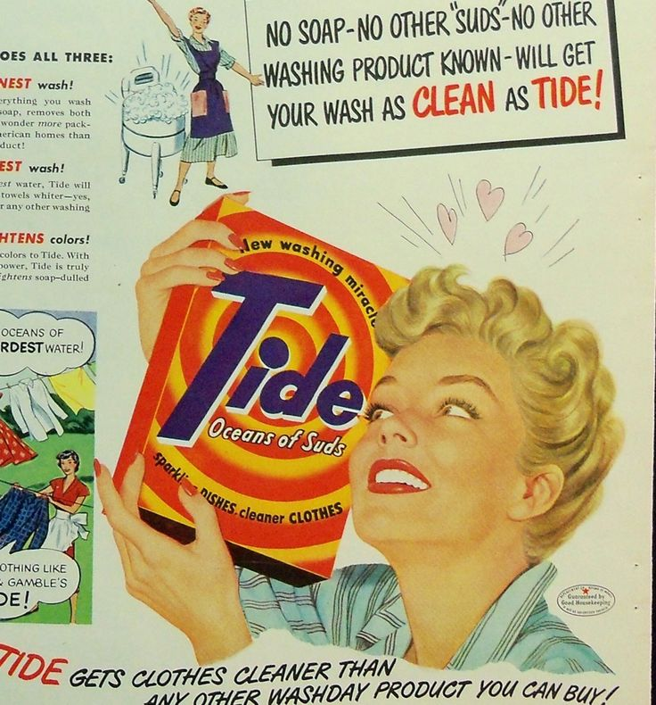Two 1950s Happy Housewife Ads for Tide Detergent by KeepingCards