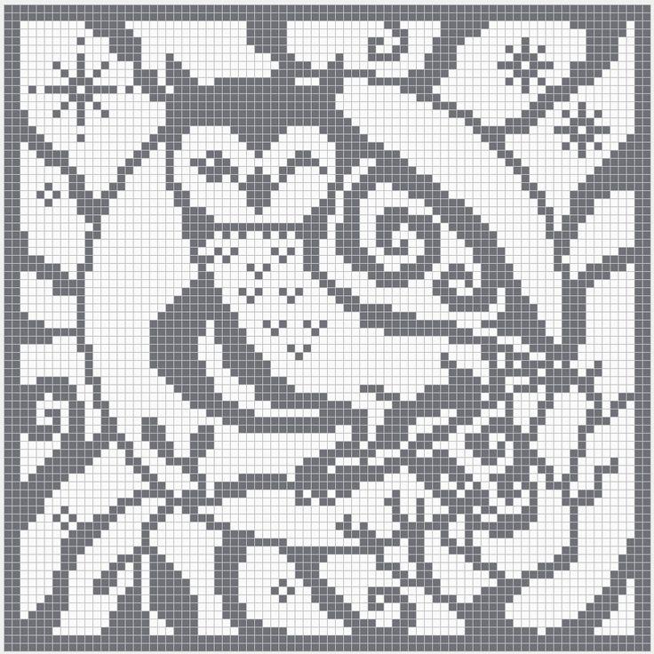 filet crochet charts owl | ... square chart for cross stitch, crochet colour work and filet crochet