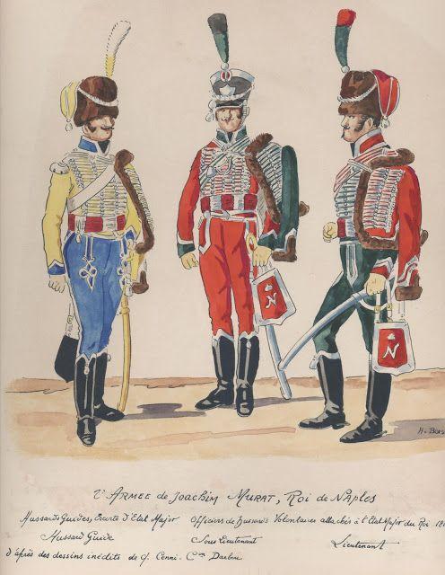2e Armée de Joachim Murat, roi de Naples Hussards guides, escorte d'état Major Sous-lieutenant Lieutenant