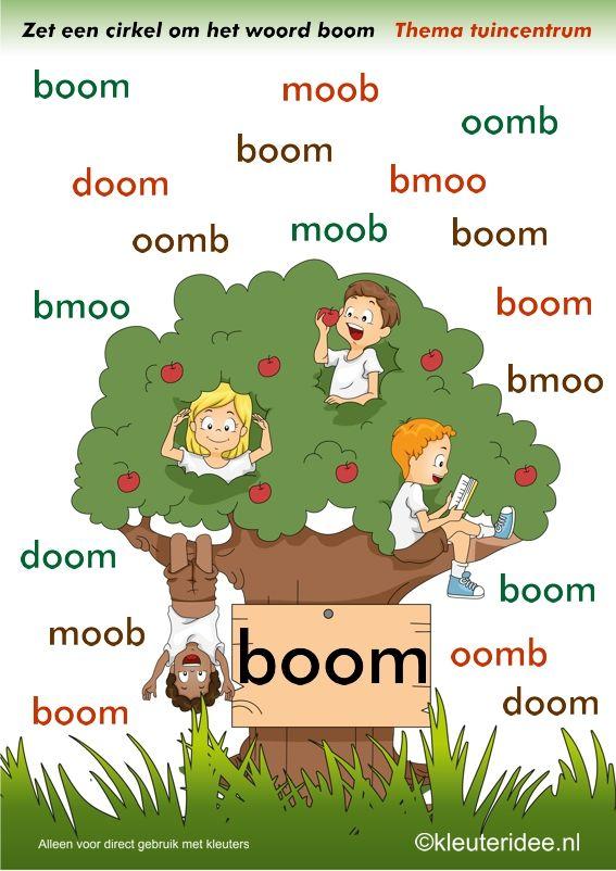 Zoek het juiste woord boom , thema tuincentrum, juf Petra van kleuteridee , free printable.