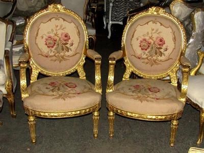 pair of massive ornately carved baroque rococo petit point needlepoint fauteuils ebay