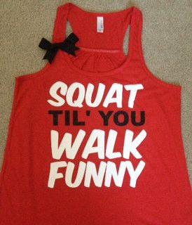 Squat Til' You Walk Funny Racerback Tan | Ruffles with Love