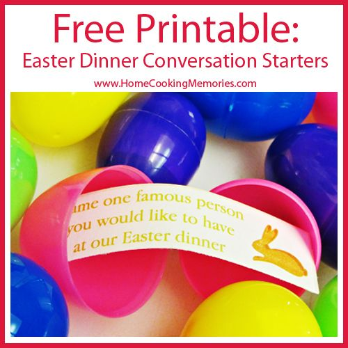 FREE Printable! Easter Dinner Conversation Starters -- place strips in plastic eggs in an Easter basket for a fun -- and interactive -- decoration! #easter #printable