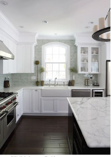 Perfect kitchen.  White cabinets, gray backsplash tile, gray + white counters.