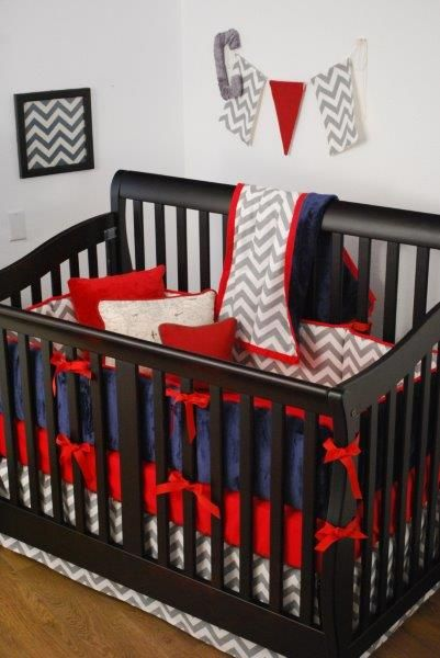 Red Grey Chevron And Navy Crib Bedding In The Nursery