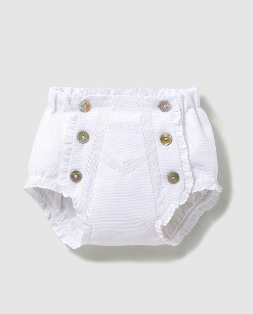 Cubrepañales de bebé Dulces en blanco con puntilla