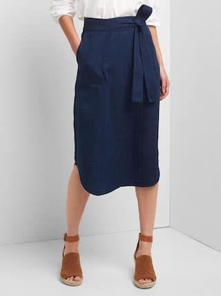 Linen-cotton utility wrap skirt | Gap