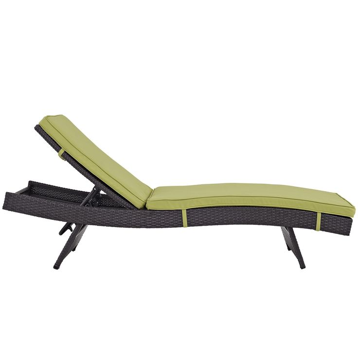 Plutus Brands MF1690 Outdoor Patio Chaise, Espresso Peridot. Modern Outdoor Chaise Lounge Synthetic Rattan Weave Machine Washable Cushion Covers Powder Coated Aluminum Frame Water & Uv Resistant. Machine Washable Cushion Covers. Material: synthetic rattan weave, powder coated aluminum; cushion density is 24KG/M3.
