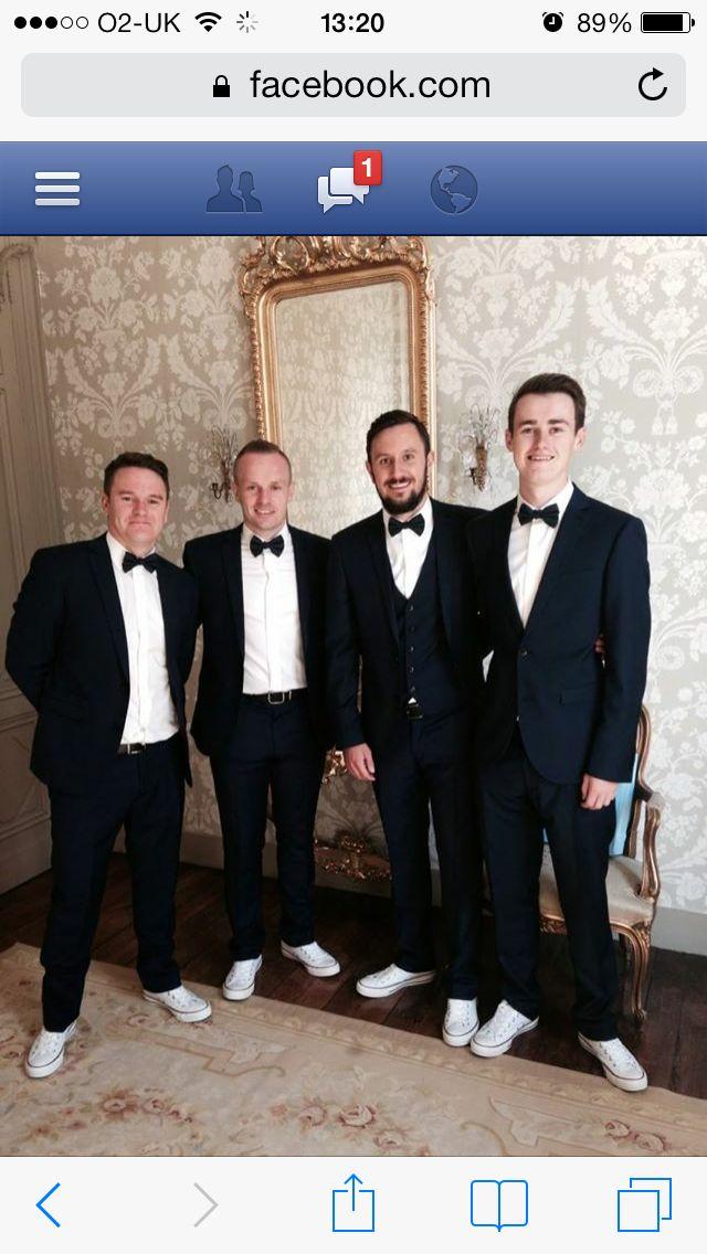 Groomsmen navy suits white converse groom wedding