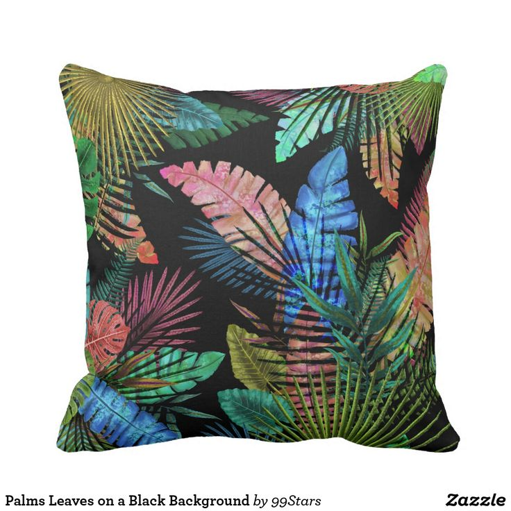 Palms Leaves on a Black Background Throw Pillow