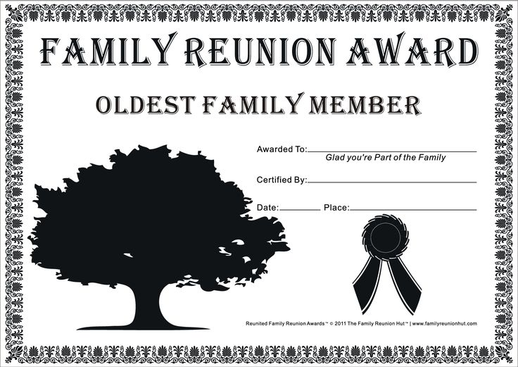 Reunion Activities | Family Reunion Certificates - Hope Tree 18 is a Free Family Reunion ...