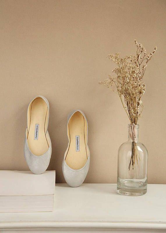 Last Pair Size Eu 42 Metallic Ballet Flats In Dusty Silver