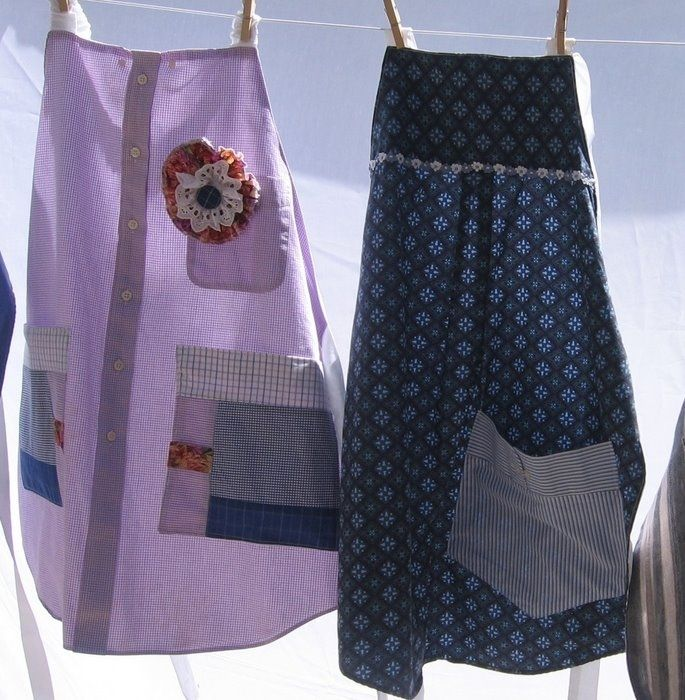 Didi @ Relief Society: Girls Camp or Mutual Activity Ideas - Aprons from old button shirts!