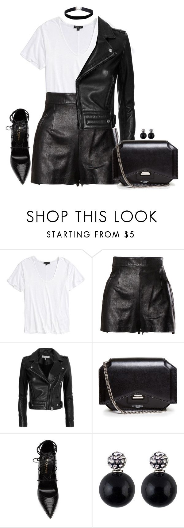 """Black white semi casual"" by kwasheretro on Polyvore featuring Topshop, Moschino, IRO, Givenchy, Yves Saint Laurent and Miss Selfridge"