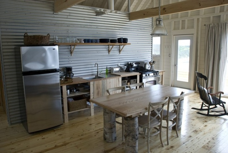 Corrugated metal wall and exposed framing of small cottage - Using corrugated metal for interior walls ...