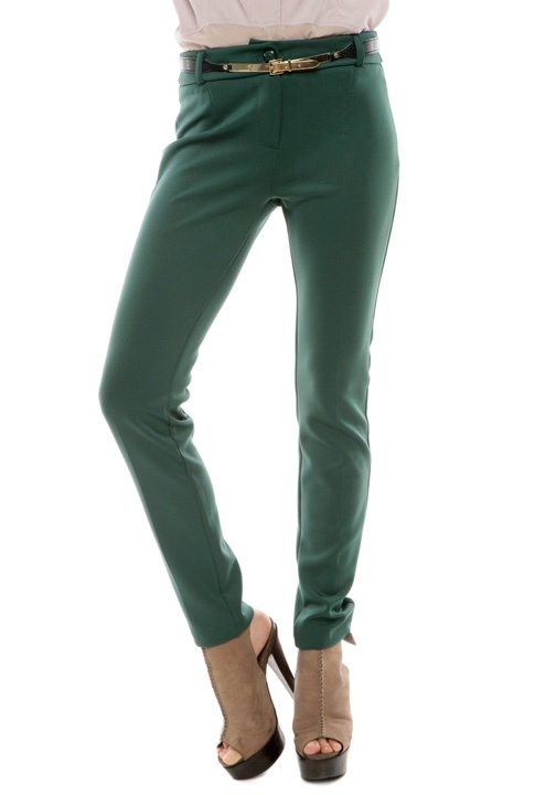 belted emerald trousers