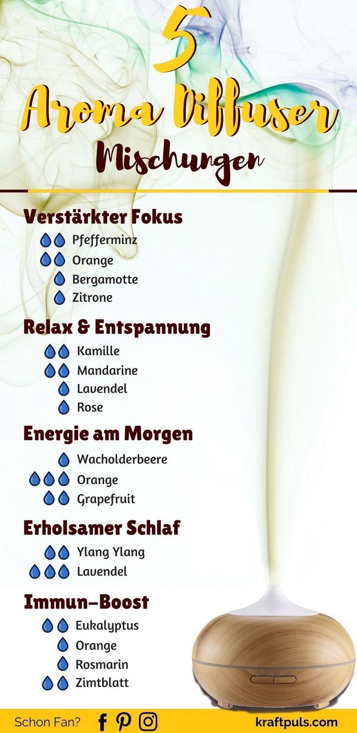 Aromatherapie mit ätherischen Ölen: 5 Aroma Diffuser Rezepte + Wirkungen #deutsch #Gesundheit #Duft via @kraftpuls
