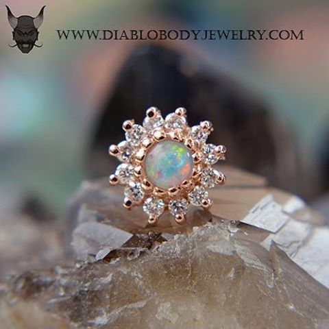 #BVLA The Rose, #10-1100-DIA/WO #RoseGold with VS #Diamonds and White Opal Center. Great for #Philtrum, #Lip, #Cartilage, #Conch, #Tragus, #TripleForwardHelix, #Helix, #Flats, #Nostril, #Microdermals and more! #piercing #jewelry #austin #texas