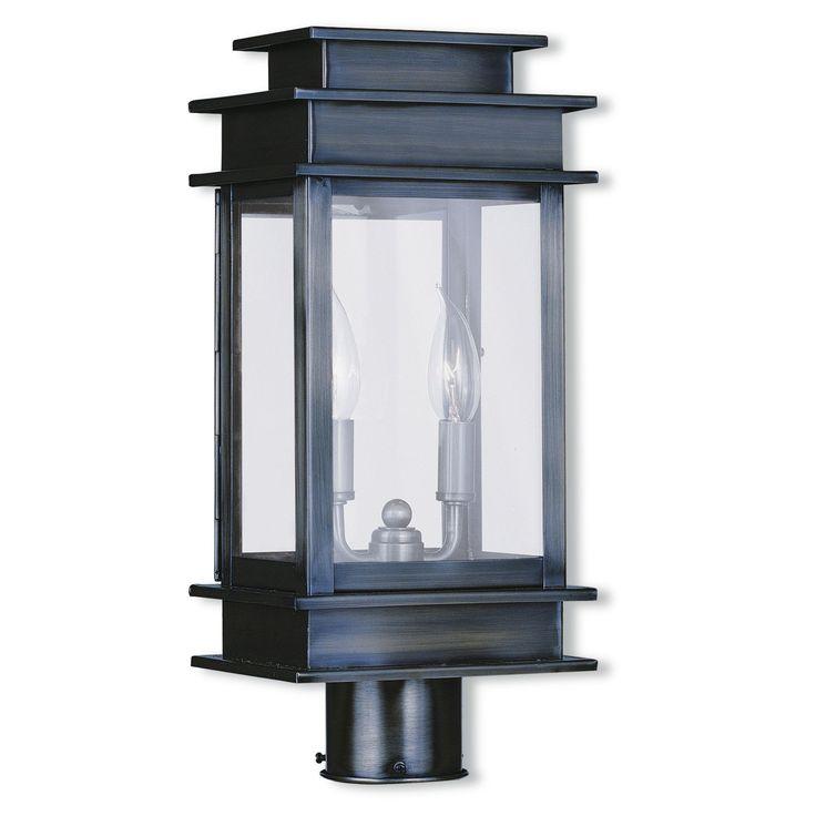 Livex Lighting Princeton Collection Grey Silver Brass 2 Light Outdoor Post Lantern Vintage