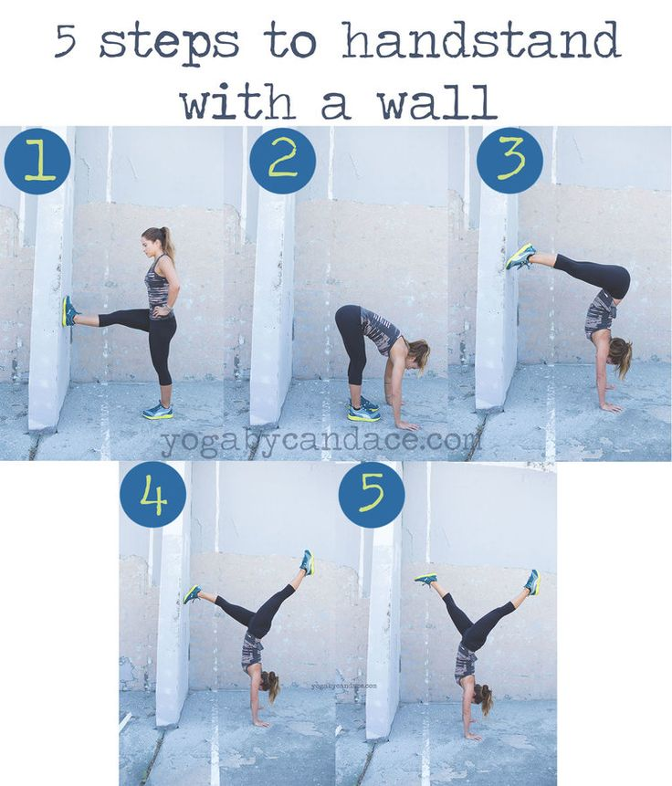 Facing the wall instead of kicking up to the wall!  Interesting!  Pin now, practice handstand later!  Wearing: Sweaty Betty leggings, Puma tank and sneakers.