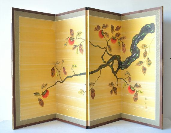 vintage asian silk screen  large 4 panel divider, yellow wall art, tree branch, home decor by cupolavintage
