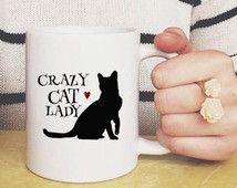 Crazy Cat Lady koffie mok cadeau, huisdier eigenaar Gift, keramische beker, unieke mokken, Black Cat, koffie minnaar, unieke mokken, grappige koffiemok