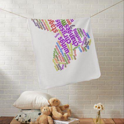 Inspirational Elegant Butterfly Tag Cloud Receiving Blanket - original gifts diy cyo customize