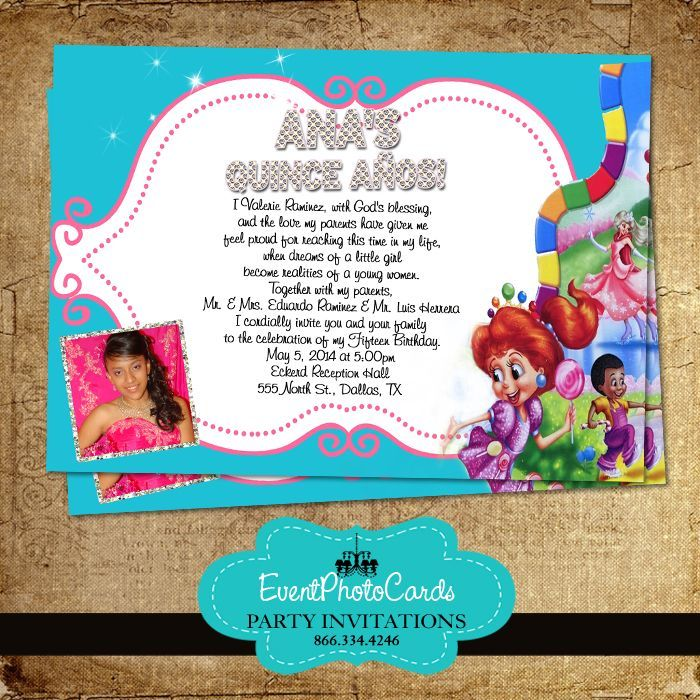 16 best Candyland Quinceanera Invitations images on Pinterest ...