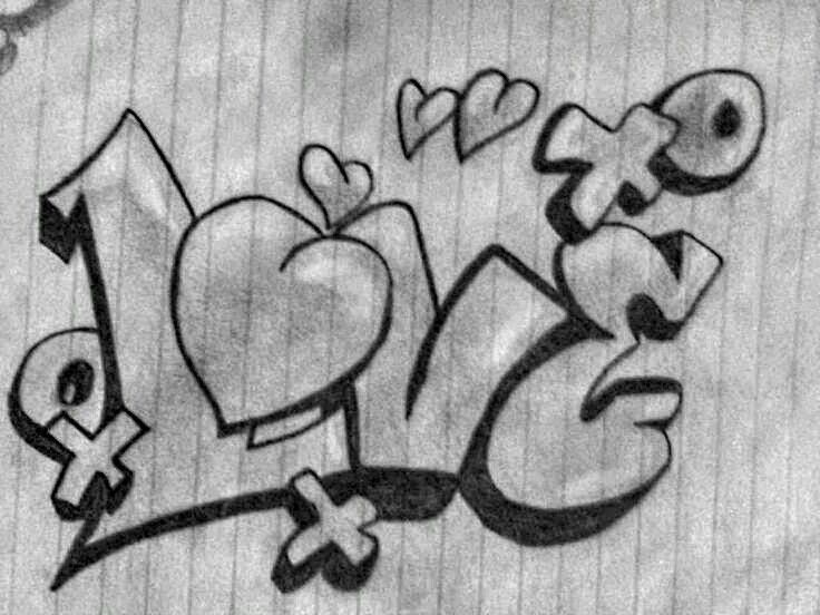 Love Is A 4 Letter Word Graffiti Drawing Pencil