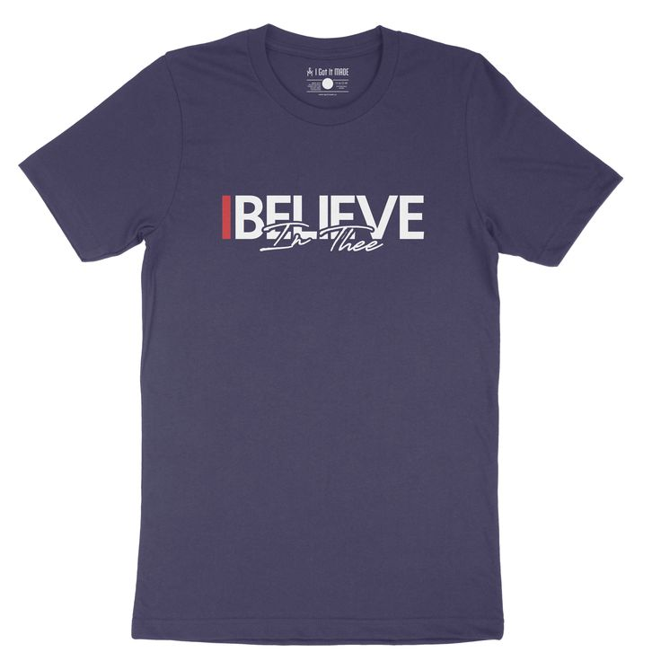 """For the true blue fans of #TheeILove in the age of """"Prime"""" we bring you """"I Believe In Thee"""" t-shirt. Features 4.2 oz., 100% airlume combed and ringspun cotton Unisex sizing Shoulder taping Side-seamed Tear away label Pre-shrunk Measurements (in inches) XS S M L XL 2XL 3XL 4XL 5XL Full Body Length 27 28 29 30 31 32 33 34 N/A Body Width 16 ½ 18 20 22 24 26 28 30 N/A Sleeve Length 8 8 ¼ 8 ⅝ 9 ⅛ 9 ⅝ 10 ¼ N/A N/A N/A"""