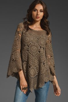 http://www.aliexpress.com/store/1687168 Tutorial to make the motif for this poncho. MyPicot | Free crochet patterns ~k8~