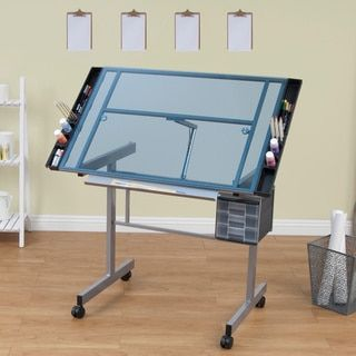 Studio Designs Vision Silver/Blue Glass Rolling Drafting and Hobby Craft Station Table - 14668392 - Overstock.com Shopping - The Best Prices on Studio Designs Drafting Tables