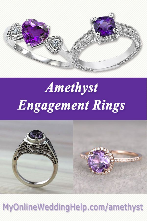 Purple amethyst engagement rings. Love the heart ring with little diamonds on the side.