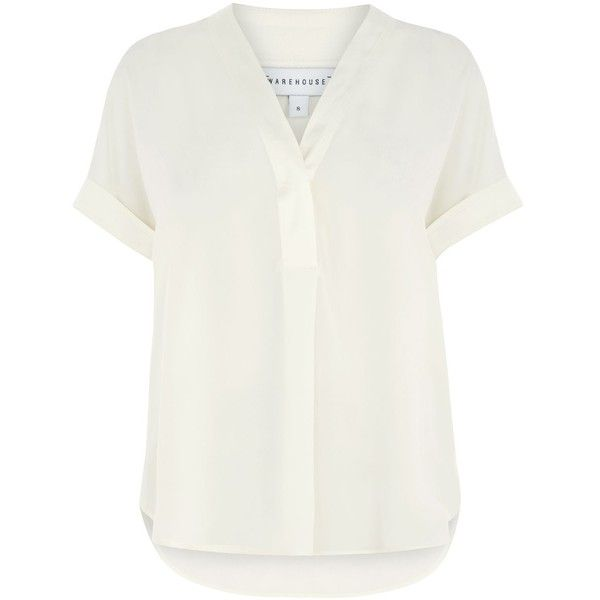 Warehouse Satin Mix Blouse ($40) ❤ liked on Polyvore featuring tops, blouses, cream, women, cream shirt, dressy white blouses, fancy blouse, satin shirt and white satin shirt