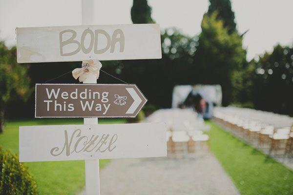 multilingual wedding signage