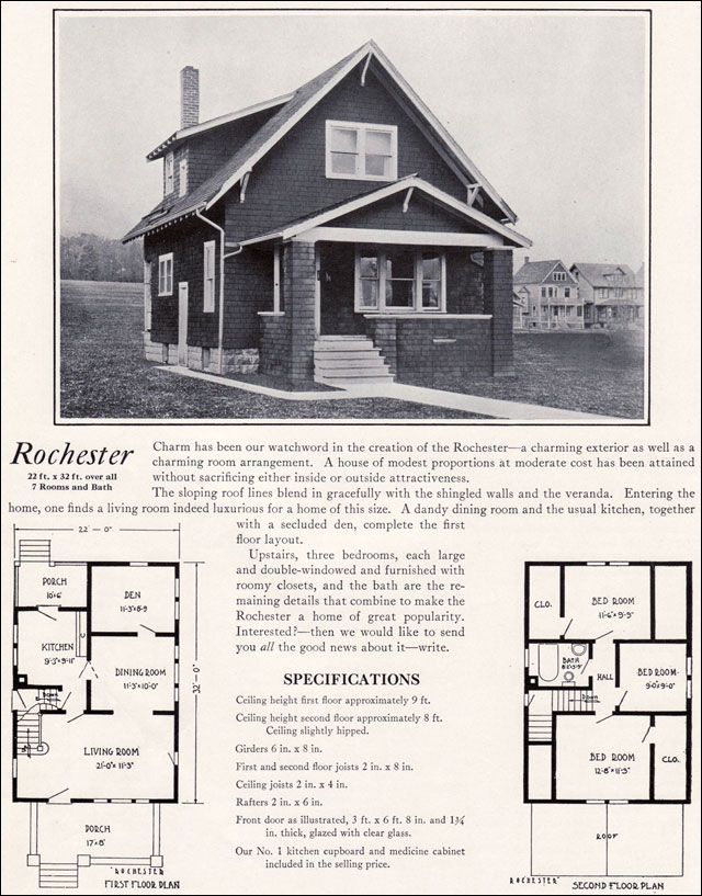 1920s Modern Vernacular Bungalow 1922 Rochester By Bennett Homes Kit Houses House Plans Vintage House Plans Craftsman Bungalow House Plans
