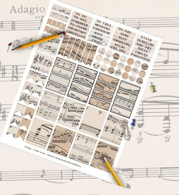 planner sticker music notes sheet music paper vintage digital