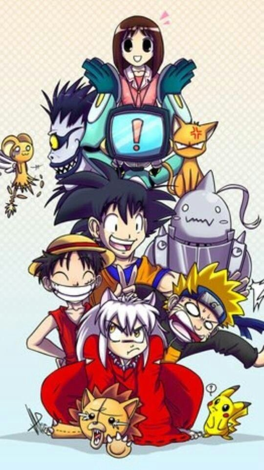 From bottom to top, I see characters from Bleach, Pokèmon, Inuyasha, Naruto, One piece, Fullmetal Alchamest, Dragon Ball Z, Fruits Baskets, and I believe...K-on?.....