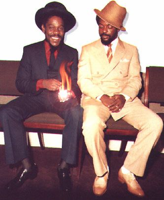 Dennis Brown and Junior Delgado - London, 1981  Read More http://corporatecaribbean.com/vincentnap/top-reggae/top-men/