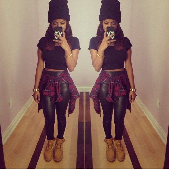 Plaid Shirt. Timberland Boots Outfit. Urban Fashion. Swag. Dope. Hip Hop Fashion. Hip Hop Outfit. Urban Outfit