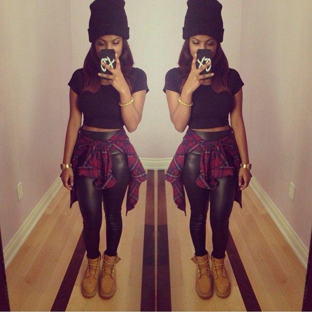 Plaid Shirt. Timberland Boots. Urban Fashion. Hip Hop Fashion. Urban Outfit