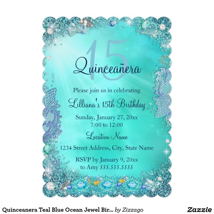Quinceanera Teal Blue Ocean Jewel Birthday Party 5x7 Paper Invitation Card