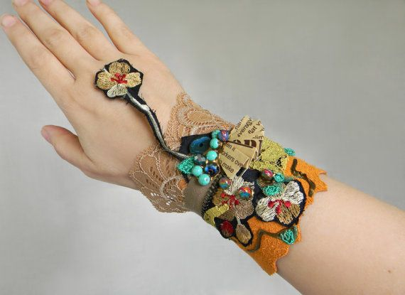 Mixed media collage wrist cuff with suede leather and by Elyseeart